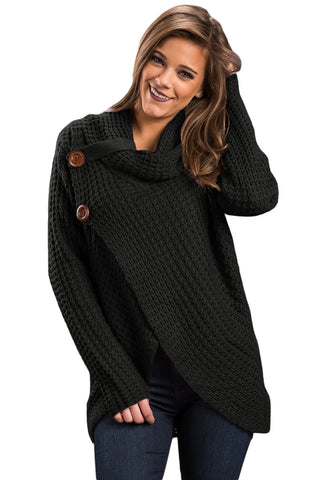 A| Chicloth Black Buttoned Wrap Cowl Neck Sweater