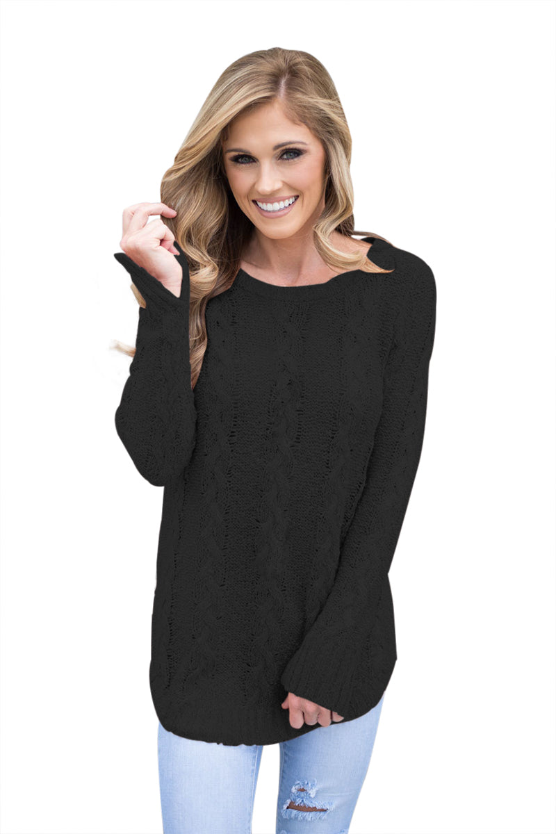 Chicloth Black Cable Knit Fall Winter Sweater-Women's Clothes||Sweaters & Cardigans-Chicloth