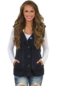 A| Chicloth Black Cable Knit Hooded Sweater Vest-Sweaters-Chicloth
