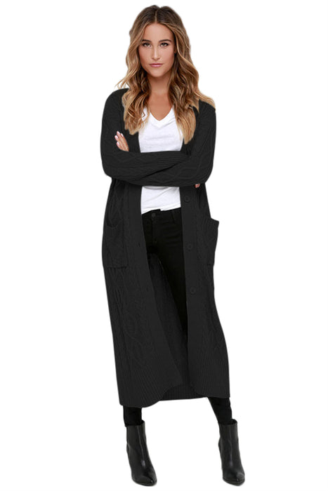 Chicloth Black Cable Knit Long Cardigan-Women's Clothes||Sweaters & Cardigans-Chicloth