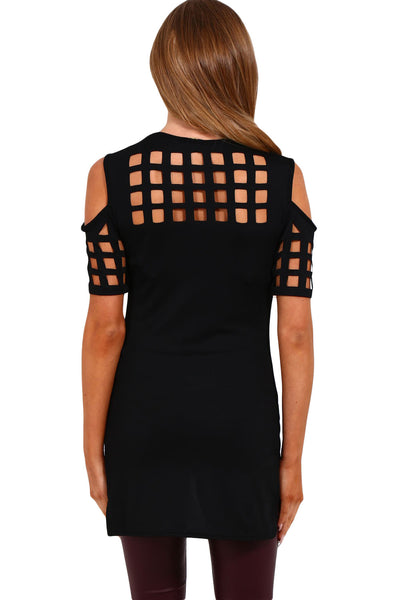 Chicloth Black Cage Cutout Cold Shoulder Top