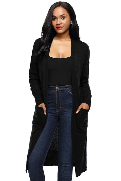 Chicloth Black Casual Knit Long Sleeve Open Front Cardigan