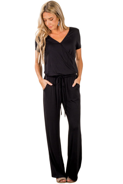 Z| Chicloth Black Casual Lunch Date Jumpsuit-Chicloth