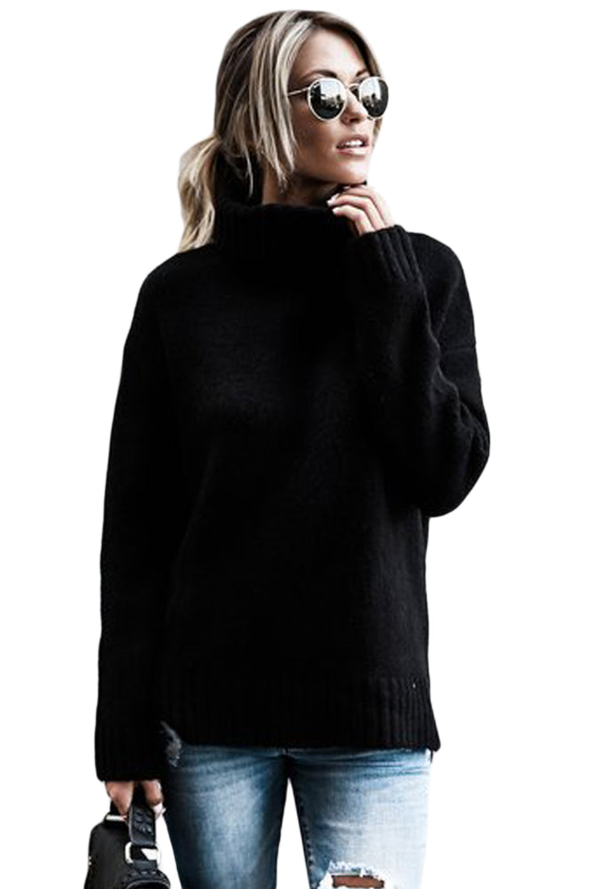 Chicloth Black Causal Knit High Neck Loose Sweater