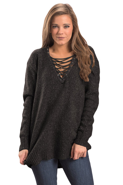 Chicloth Black Chic Long Sleeve Sweater with Lace up Neckline