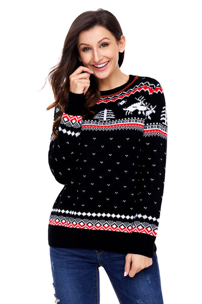 Chicloth Black Christmas Reindeer Knit Sweater Winter Jumper