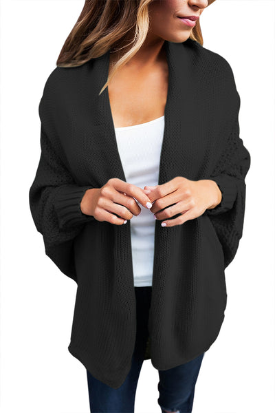 Chicloth Black Chunky Knit Open Front Dolman Cardigan
