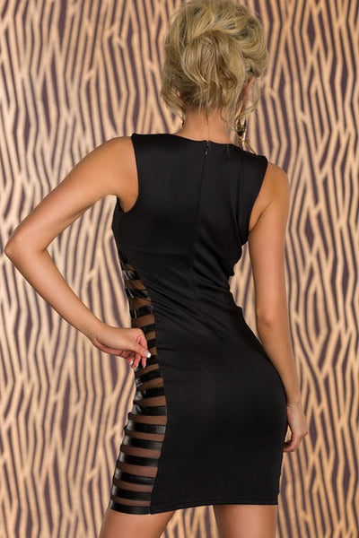 Chicloth Black Club Tank Bodycon Dress with Side Striped Mesh