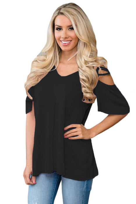 Chicloth Black Cold Shoulder Crisscross Detail Relaxing Fit Top-Blouse-Chicloth