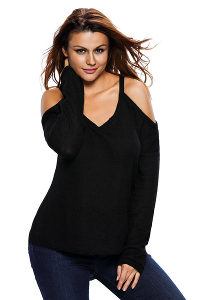 Chicloth Black Cold Shoulder Knit Long Sleeves Sweater