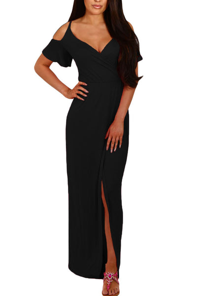 Chicloth Black Cold Shoulder Long Jersey Dress