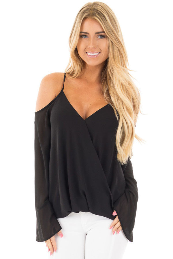Chicloth Black Cold Shoulder Overlap V Neck Long Sleeve Top