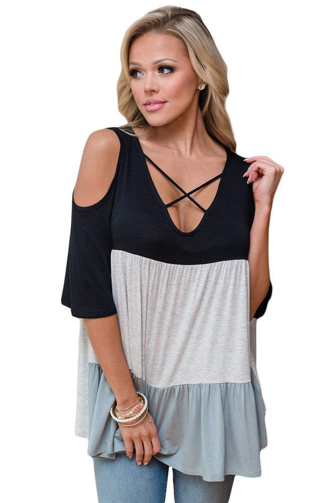 Chicloth Black Color Block Criss Cross V Neck Cold Shoulder Top