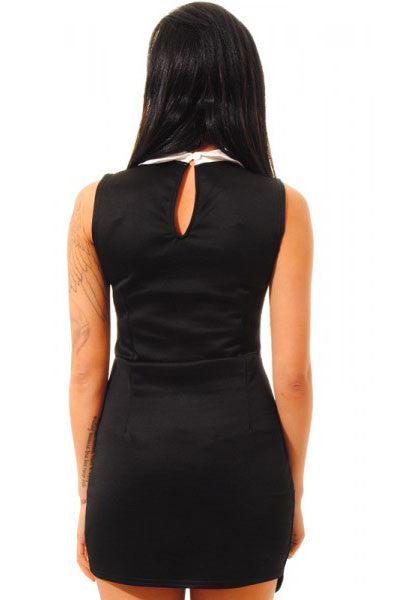 Chicloth Black Contrasting Collared Bodycon Dress