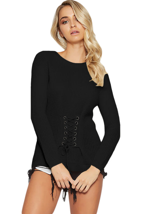 Chicloth Black Corset Knit Sweater-Women's Clothes||Sweaters & Cardigans-Chicloth