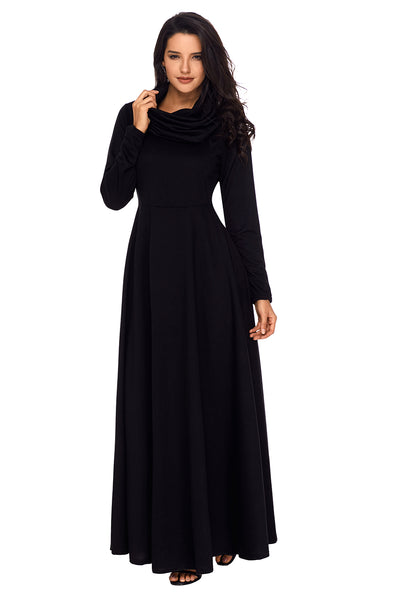 Chicloth Black Cow Neck Long Sleeve Maxi Dress-Fashion Dresses||Maxi Dresses-Chicloth