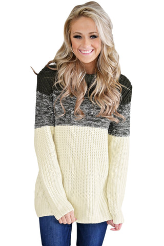 A| Chicloth Black Cowl Neck Color Blocked Sweater