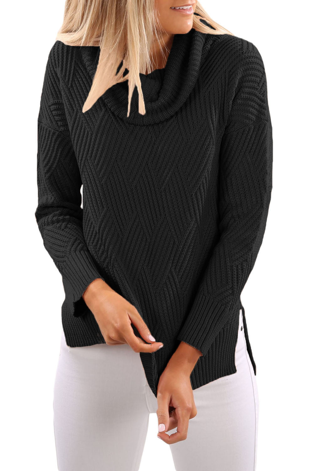 Chicloth Black Cowl Neck Side Split Sweater
