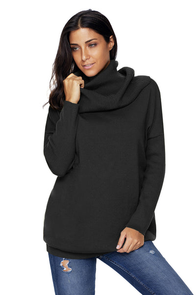 Chicloth Black Cozy Cowl Neck Long Sleeve Sweater