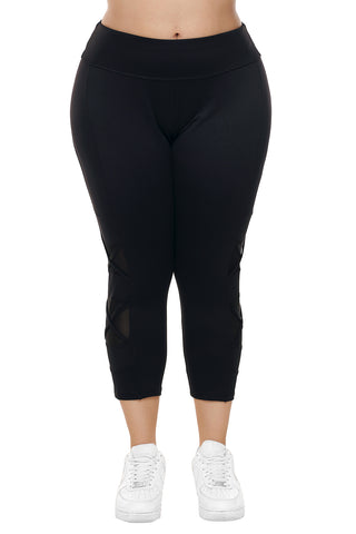 Z| Chicloth Black Crisscross Mesh Cutout Plus Size Yoga Pants