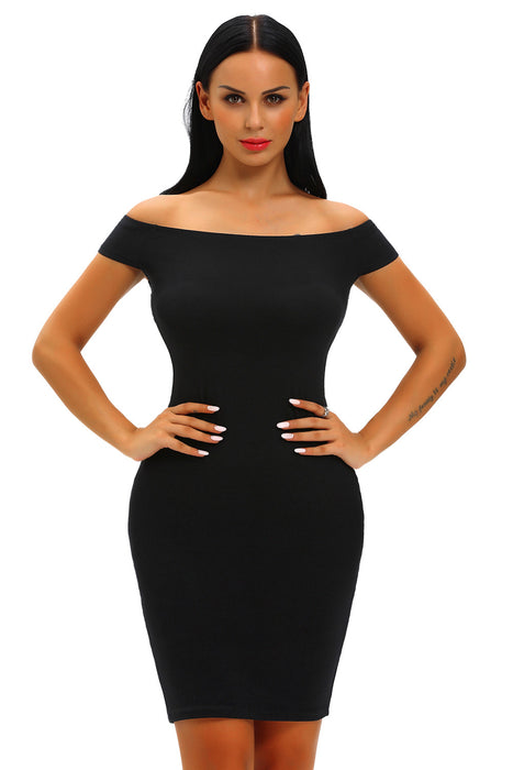 Chicloth Black Crisscross Off Shoulder Bodycon Dress-Chicloth