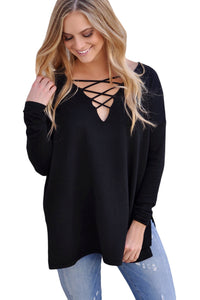 Chicloth Black Crisscross V Neck Lightweight Sweater