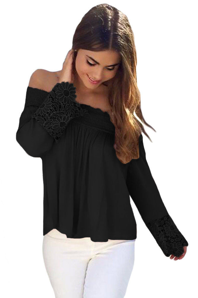 Chicloth Black Crochet Lace Long Sleeve Off Shoulder Top