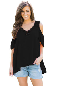Chicloth Black Crochet Neck and Back Cold Shoulder Top