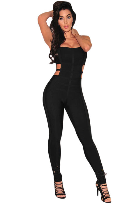 Chicloth Black Cut Out Bandage Jumpsuit-Jumpsuits & Rompers-Chicloth