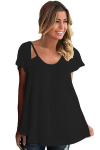 Chicloth Black Cutout Cold Shoulder Flowy Top-Blouse-Chicloth