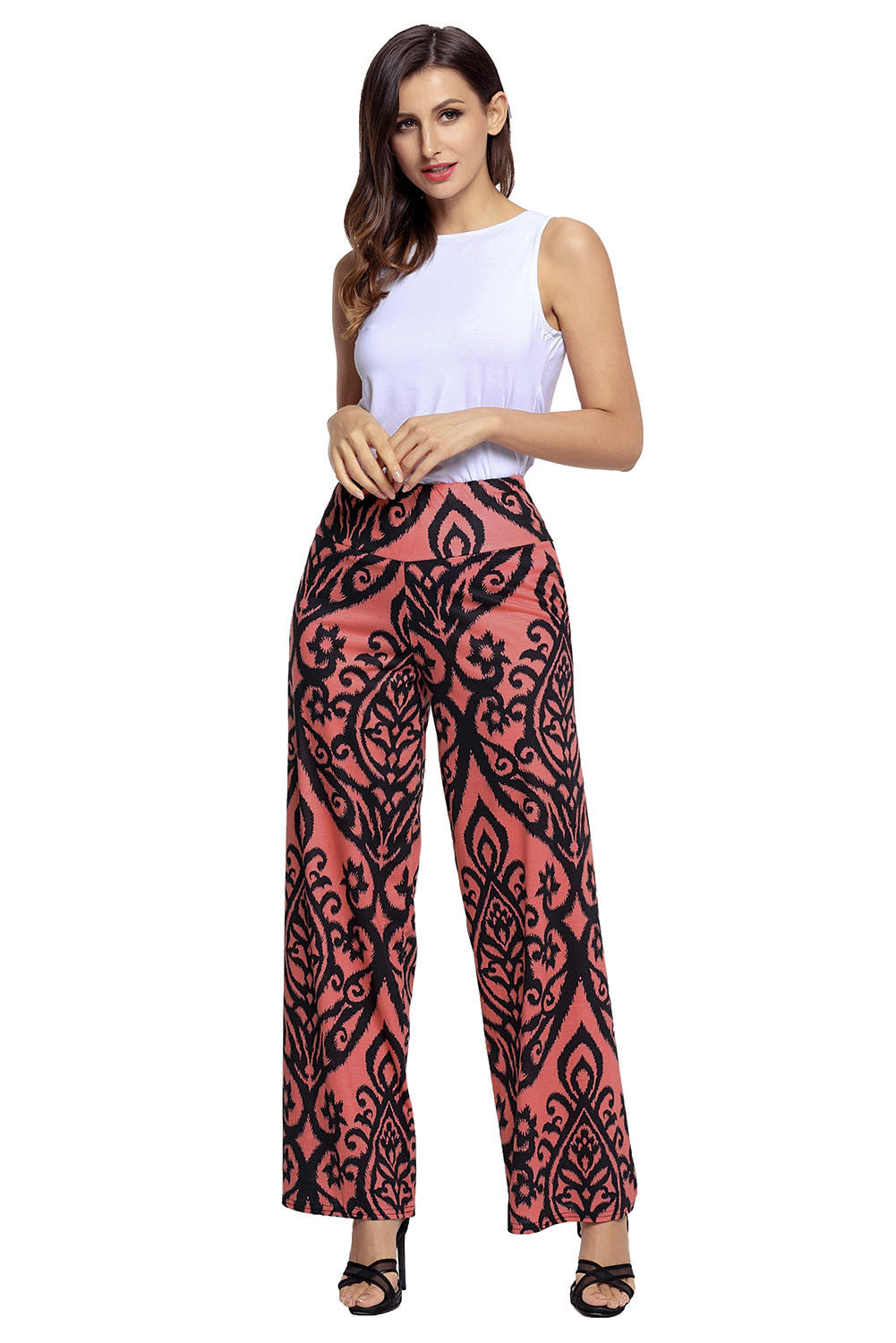 Chicloth-Black-Damask-Print-Palazzo-Pants-Women's Clothes||Pants & Culotte-Chicloth