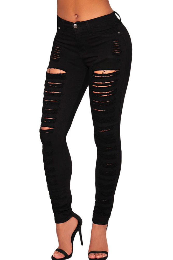 Chicloth Black Denim Destroyed High-waist Skinny Jeans
