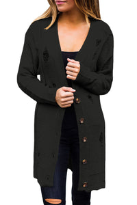 Chicloth Black Distressed Button Cardigan