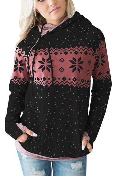 Chicloth Black Double Hood Snowfall Print Sweatshirt