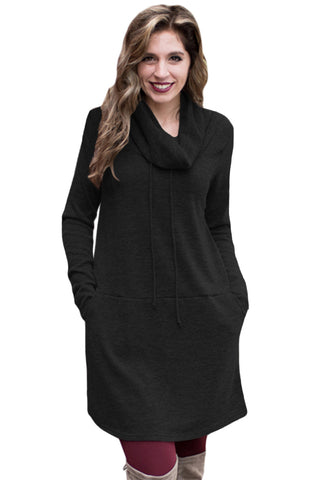 Chicloth Black Drawstring Cowl Neck Sweatshirt Dress