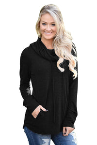 Chicloth Black Drawstring Cowl Neck Sweatshirt