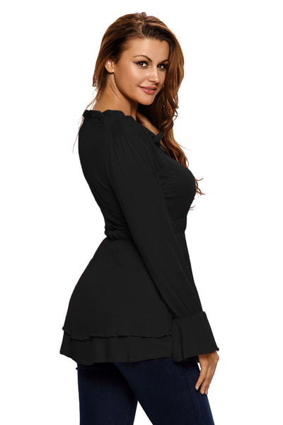 Chicloth Black Drawstring V Neck Elastic Long Sleeve Top