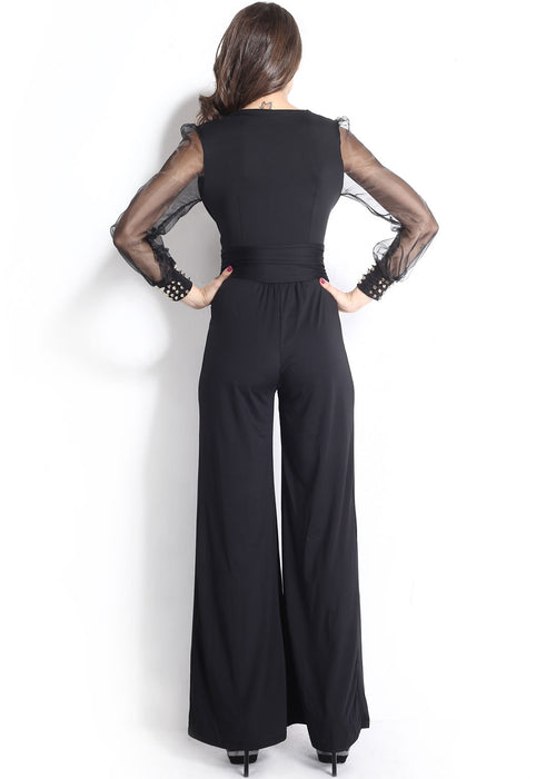 Chicloth Black Embellished Cuffs Long Mesh Sleeves Jumpsuit-Jumpsuits & Rompers-Chicloth