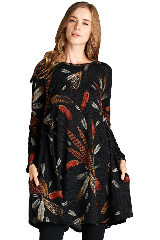 Chicloth Black Feather Graphic Pocket Tunic Dress - 2XL / Black