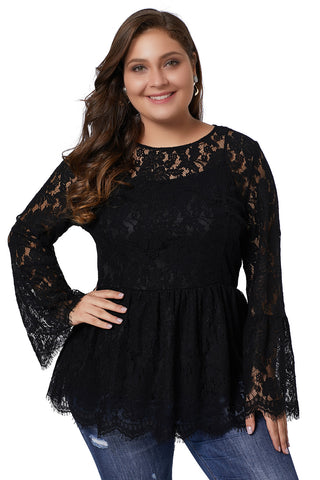 Z| Chicloth Black Floral Lace Babydoll Plus Size Top-Plus Size Tops-Chicloth