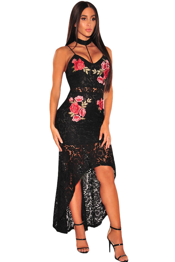 Chicloth Black Floral Lace Choker High Low Dress - Chicloth