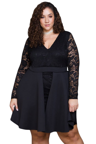 C| Chicloth Black Floral Lace Patchwork Flared Curvy Dress-Plus Size Dresses-Chicloth