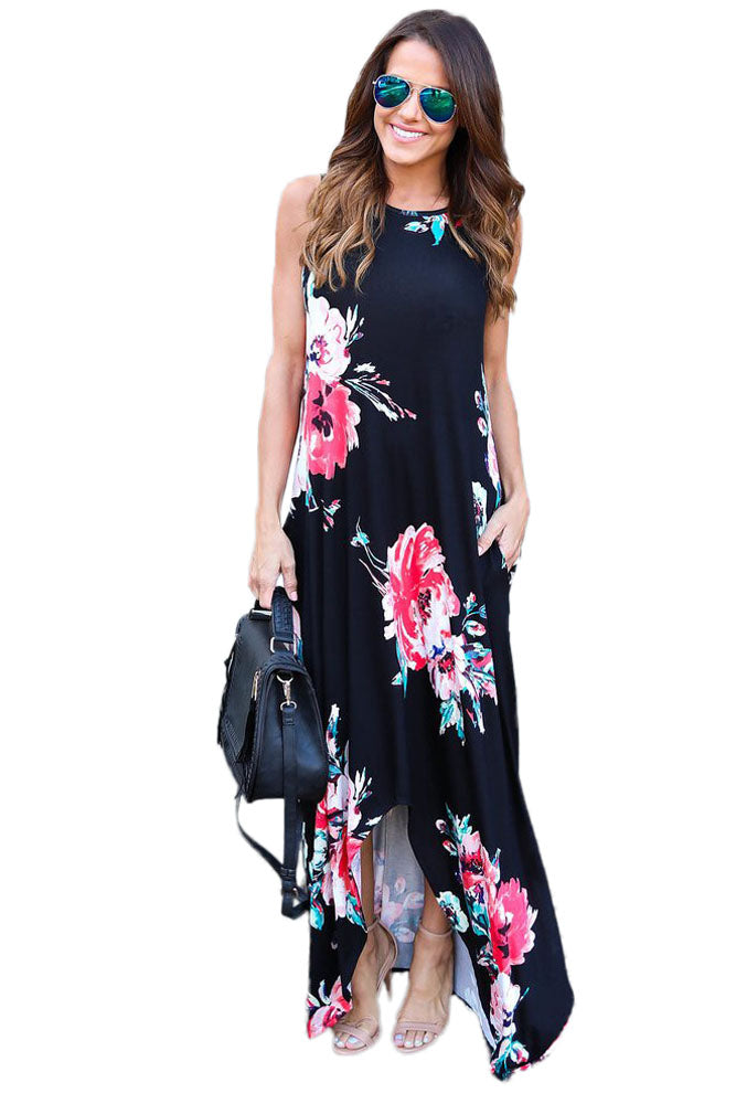 Chicloth Black Floral Pocketed Holiday Maxi Boho Dress