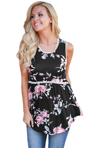 Chicloth Black Floral Pompom Lace Trim Flowy Tank Top