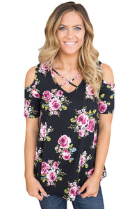 Chicloth Black Floral Print Crisscross Neck Cold Shoulder Top