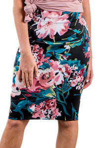 Chicloth Black Floral Print Pencil Skirt