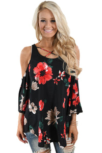 Chicloth Black Floral Print Three Quarter Sleeve Drop Shoulder Blouse