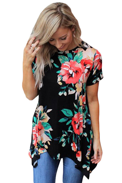 Chicloth Black Floral Short Sleeve Tunic