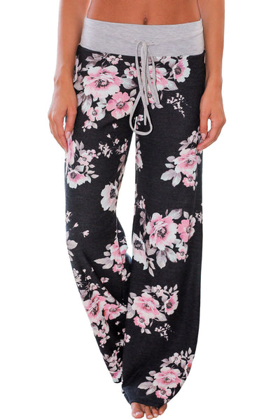 Chicloth Black Floral Terry Wide Leg Pants-Women's Clothes||Pants & Culotte-Chicloth