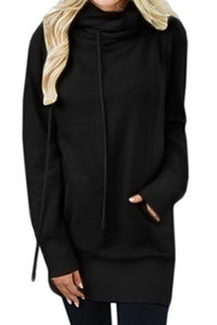 Chicloth Black Funnel Neck Long Sleeve Pocket Hoodie